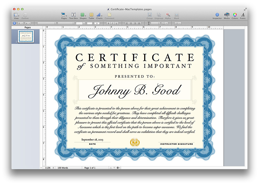 Certificate Template For Pages And Pdf - Mactemplates throughout Certificate Template For Pages