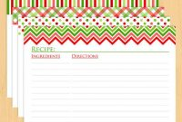 """Christmas Printable Recipe Cards 6X4"""" – Editable And Lined in Recipe Card Design Template"""