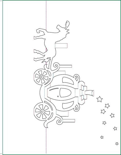 Cinderella Carriage Pop-Up Card Free Paper Craft Template in Free Printable Pop Up Card Templates