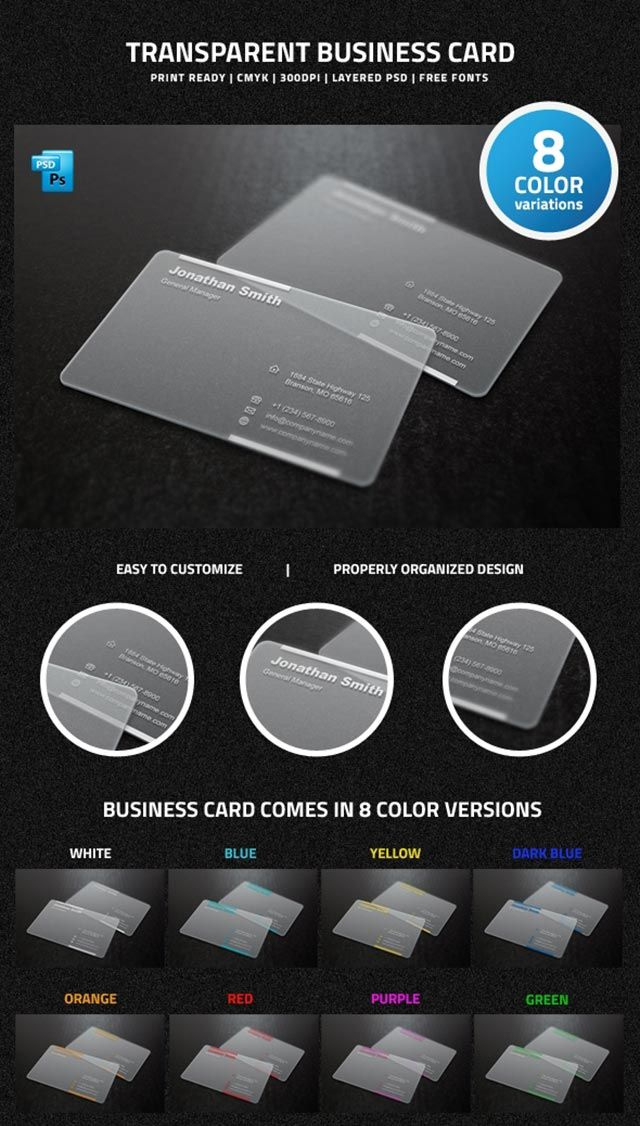Clear Free Transparent Business Card Template In 8 Different Intended For Transparent Business Cards Template