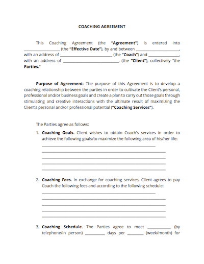 Coaching Contract (Free Download) - Docsketch with Business Coaching Contract Template