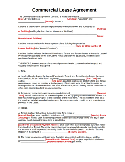 Commercial Lease Agreement Template: Free Download, Create inside Business Lease Agreement Template Free