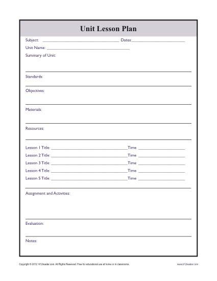 Complex Unit Lesson Plan Template with Blank Unit Lesson Plan Template