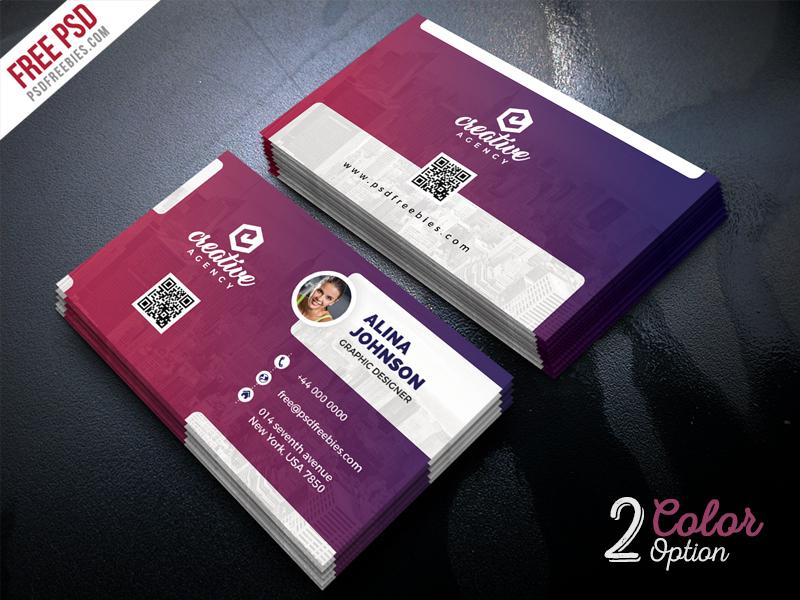 Creative Business Card Template Psd Set | Psdfreebies Regarding Unique Business Card Templates Free