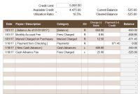 Credit Account Register Template in Credit Card Statement Template