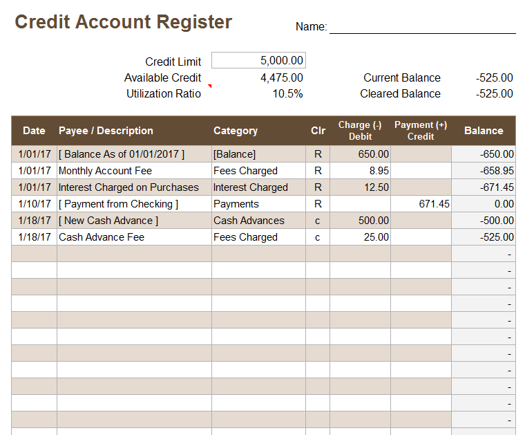 Credit Account Register Template inside Credit Card Statement Template Excel