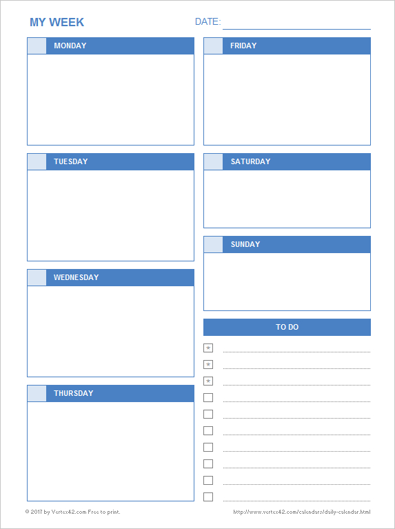 Daily Calendar - Free Printable Daily Calendars For Excel within Printable Blank Daily Schedule Template