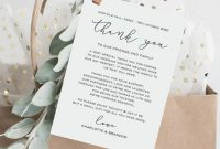 Diy Thank You Card Template, Wedding Thank You Cards, Printable Thank You  Cards, Wedding Reception Editable Thank You Note, 5X7, Tos_142 pertaining to Template For Wedding Thank You Cards