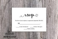 Diy Wedding Rsvp Template Download Printable Wedding Rsvp in Template For Rsvp Cards For Wedding