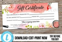 Editable Custom Makeup Gift Certificate, Printable Template, Hair Salon  Voucher, Mary Kay, Avon, Stylist, Digital Instant Download Templett within Mary Kay Gift Certificate Template