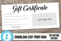 Editable Custom Printable Gift Certificate Template Logo, Photography  Voucher Hair Salon, Restaurant, Personalized Instant Download Templett in Custom Gift Certificate Template