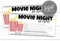 Editable Gift Certificate, Movie Night Printable Gift Certificate, Movie  Night Gift Card Template, Voucher, Instant Download intended for Movie Gift Certificate Template
