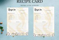 Editable Recipe Card Designs, Themes, Templates And with Recipe Card Design Template