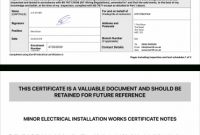Electrical Certificate – Example Minor Works Certificate with Minor Electrical Installation Works Certificate Template