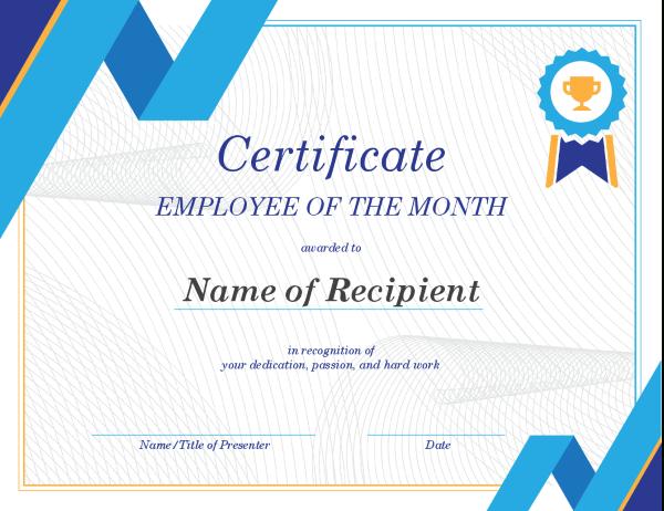 Employee Of The Month Certificate regarding Employee Of The Month Certificate Template With Picture