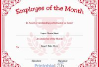 Employee Of The Month Certificate Template In Monza, Your pertaining to Employee Of The Month Certificate Template With Picture