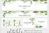 Etsy Shop Design, Set Etsy Banner, Etsy Shop Kit Template, Watercolor  Greenery Banner For Etsy, Etsy Store Banner, Diy Etsy Banner Set with Etsy Banner Template