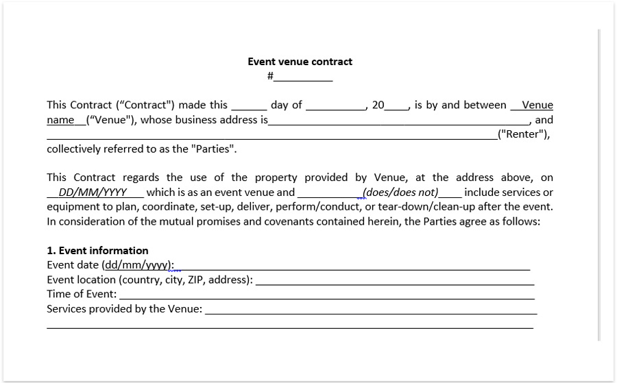 Event Venue Contract Template, Download A Free Pdf Venue within Wedding Venue Business Plan Template