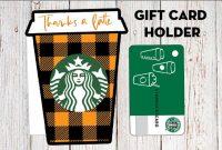 "Fall ""thanks A Latte"" Starbucks Gift Card Holder – Free inside Thanks A Latte Card Template"