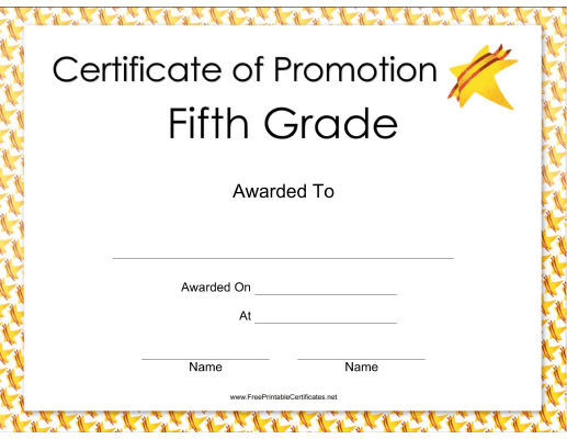 Fifth Grade Promotion Certificate Printable Certificate Throughout 5Th Grade Graduation Certificate Template