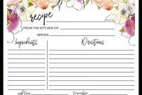 Floral Quarter Sheet Recipe Card intended for Recipe Card Design Template