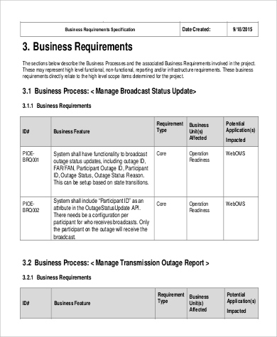 Free 9+ Business Requirement Document Samples In Ms Word | Pdf for Sample Business Requirement Document Template