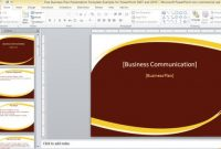 Free Business Plan Presentation Template For Powerpoint 2007 with Business Plan Presentation Template Ppt