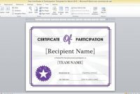 Free Certificate Of Participation Template For Word 2013 with regard to Word 2013 Certificate Template
