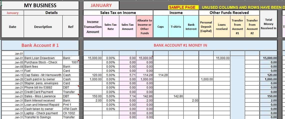 Free Excel Bookkeeping Templates | Bookkeeping Templates with Excel Templates For Small Business Accounting