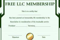 Free Llc Membership Certificate Template | Certificate with regard to Llc Membership Certificate Template