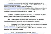 Free Missouri Commercial Lease Agreement – Pdf Template pertaining to Business Lease Agreement Template Free