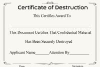 Free Printable Certificate Of Destruction Sample within Destruction Certificate Template