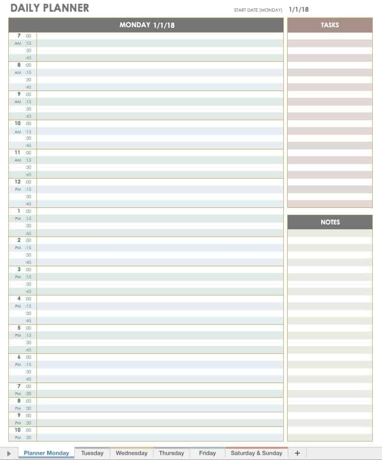 Free Printable Daily Calendar Templates | Smartsheet intended for Printable Blank Daily Schedule Template