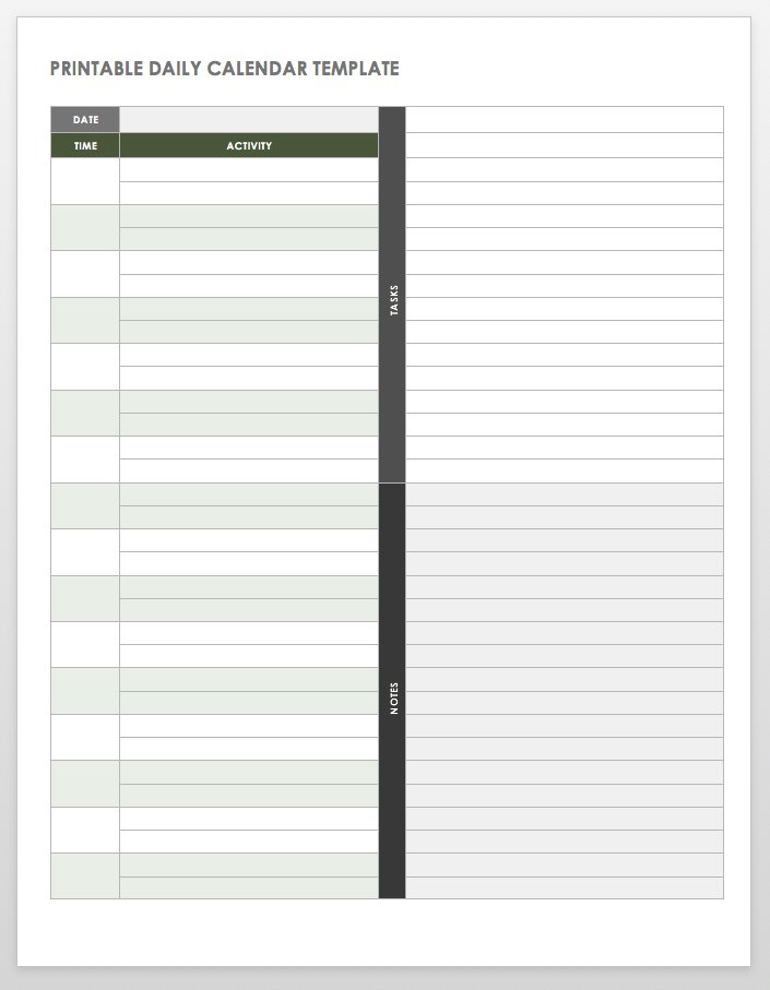 Free Printable Daily Calendar Templates | Smartsheet throughout Printable Blank Daily Schedule Template