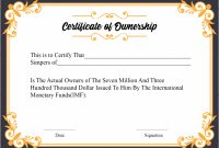 Free Sample Certificate Of Ownership Templates | Certificate intended for Ownership Certificate Template