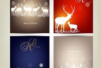 Free Vector Elegant Set Of Small Merry Christmas Cards with Small Greeting Card Template