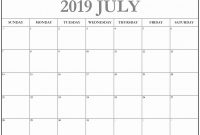 Full Page Blank Calendar Template Unique Editable July 2019 intended for Full Page Blank Calendar Template