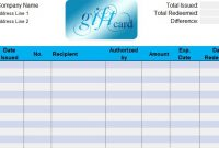 Gift Certificate Log Template (2 with regard to Gift Certificate Log Template
