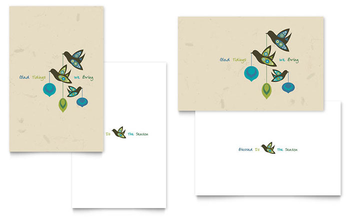 Glad Tidings Greeting Card Template Design with Small Greeting Card Template