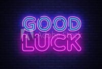 Good Luck Neon Sign Vector. Good Luck Design Template Neon inside Good Luck Banner Template