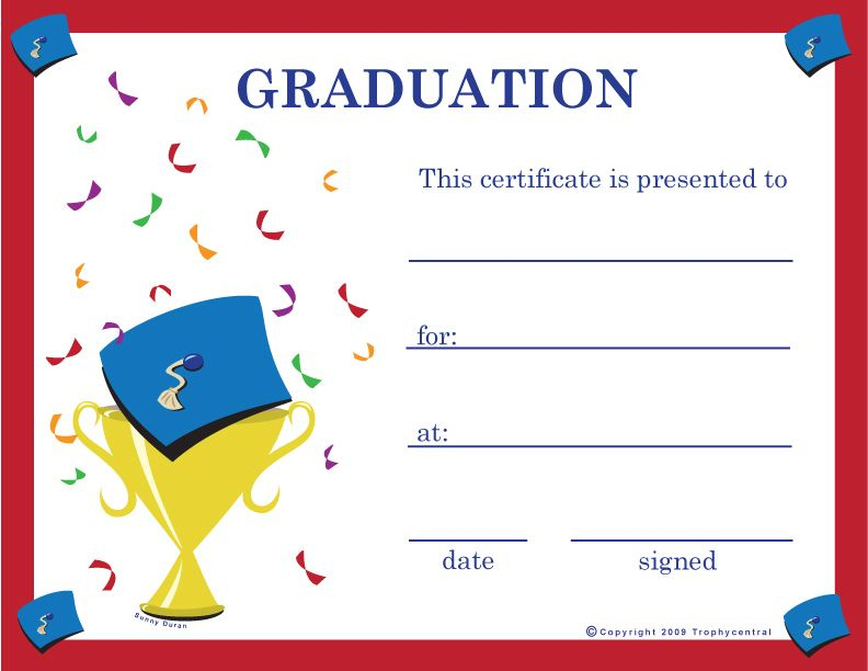 Graduation Certificates | Graduation Certificate Template for 5Th Grade Graduation Certificate Template