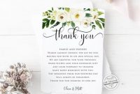 Greenery Thank You Card Template, Printable Thank You Note Card | Editable  Instant Download with Thank You Note Card Template