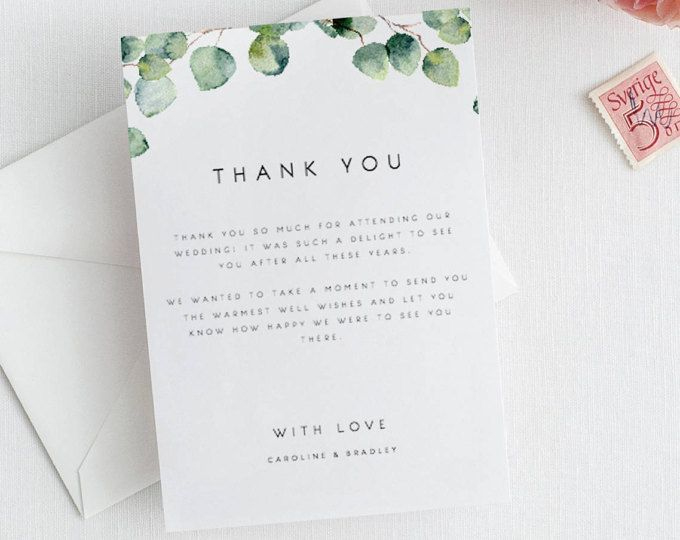 Greenery Wedding Thank You Card Template Eucalyptus Thank within Template For Wedding Thank You Cards