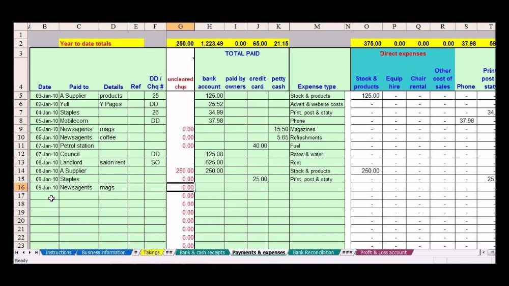 Hairdresser Bookkeeping Spreadsheet Bookkeeping Small with Accounting Spreadsheet Templates For Small Business
