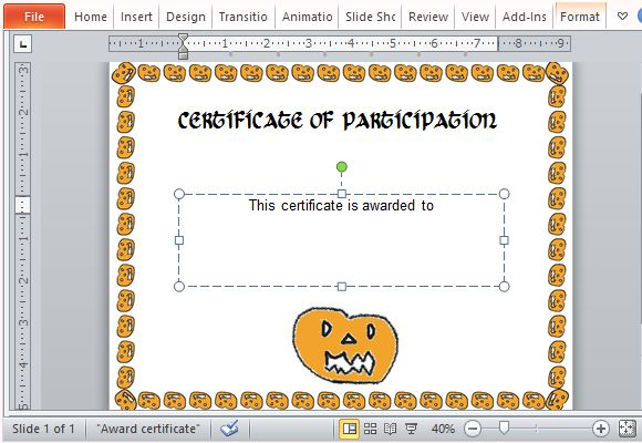 Halloween Award Certificate Template For Powerpoint Regarding Halloween Certificate Template