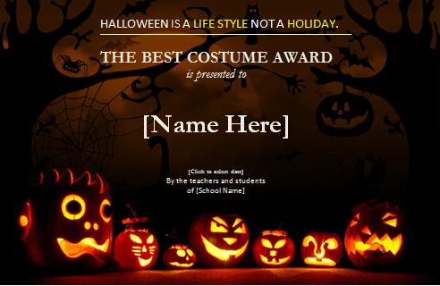 Halloween Best Costume Award Certificate | Word & Excel Inside Halloween Certificate Template
