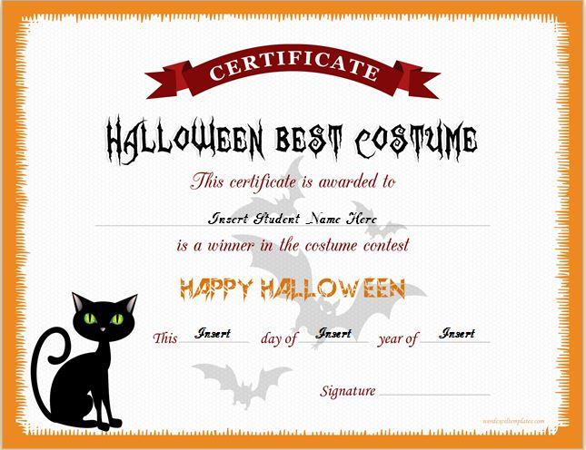 Halloween Best Costume Certificate Templates   Word & Excel In Halloween Certificate Template