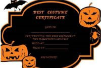Halloween Costume Certificate Template | Certificate with Halloween Costume Certificate Template