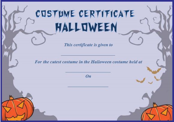 Halloween Costume Certificates With Best Designs And with regard to Halloween Costume Certificate Template