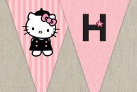 Hello Kitty With French Poodle Paris Printable Birthday Banner – Pink And  Black with Hello Kitty Birthday Banner Template Free